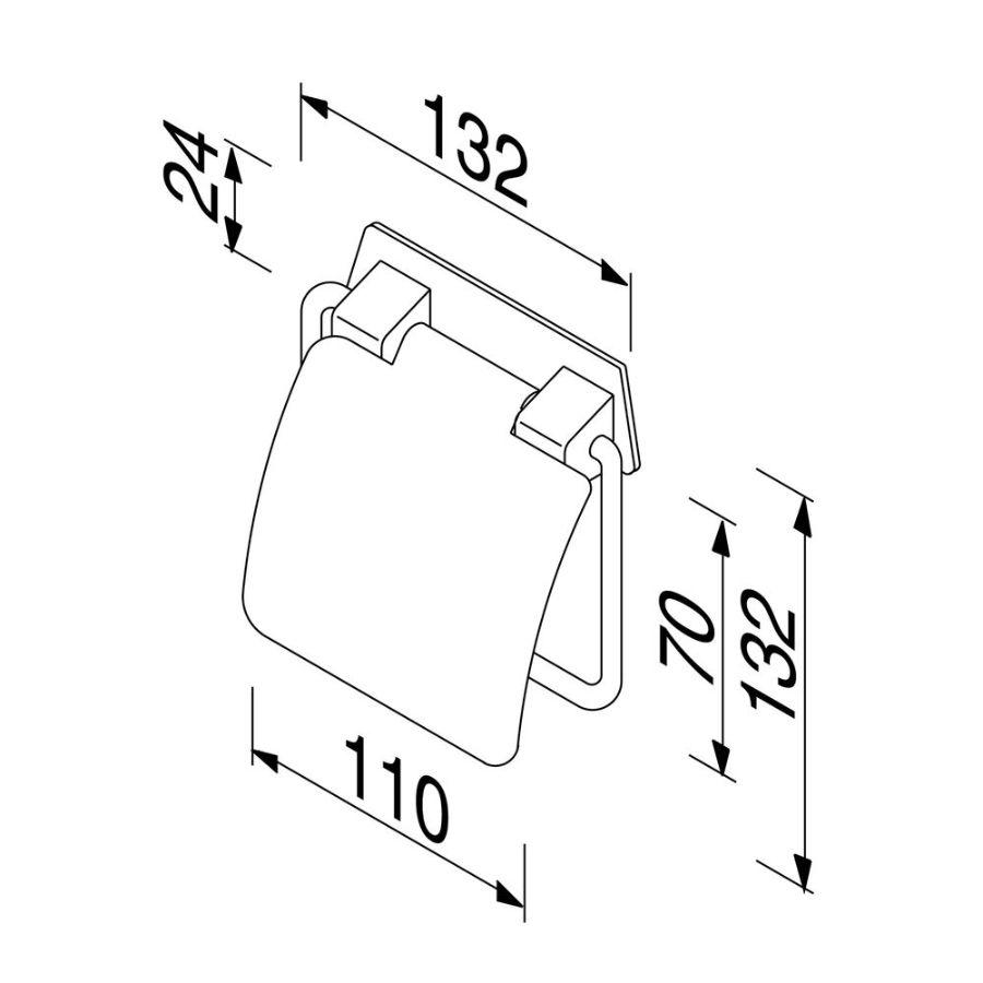 Standard closetrolhouder chroom m.veer/glanzende RVS klep Geesa
