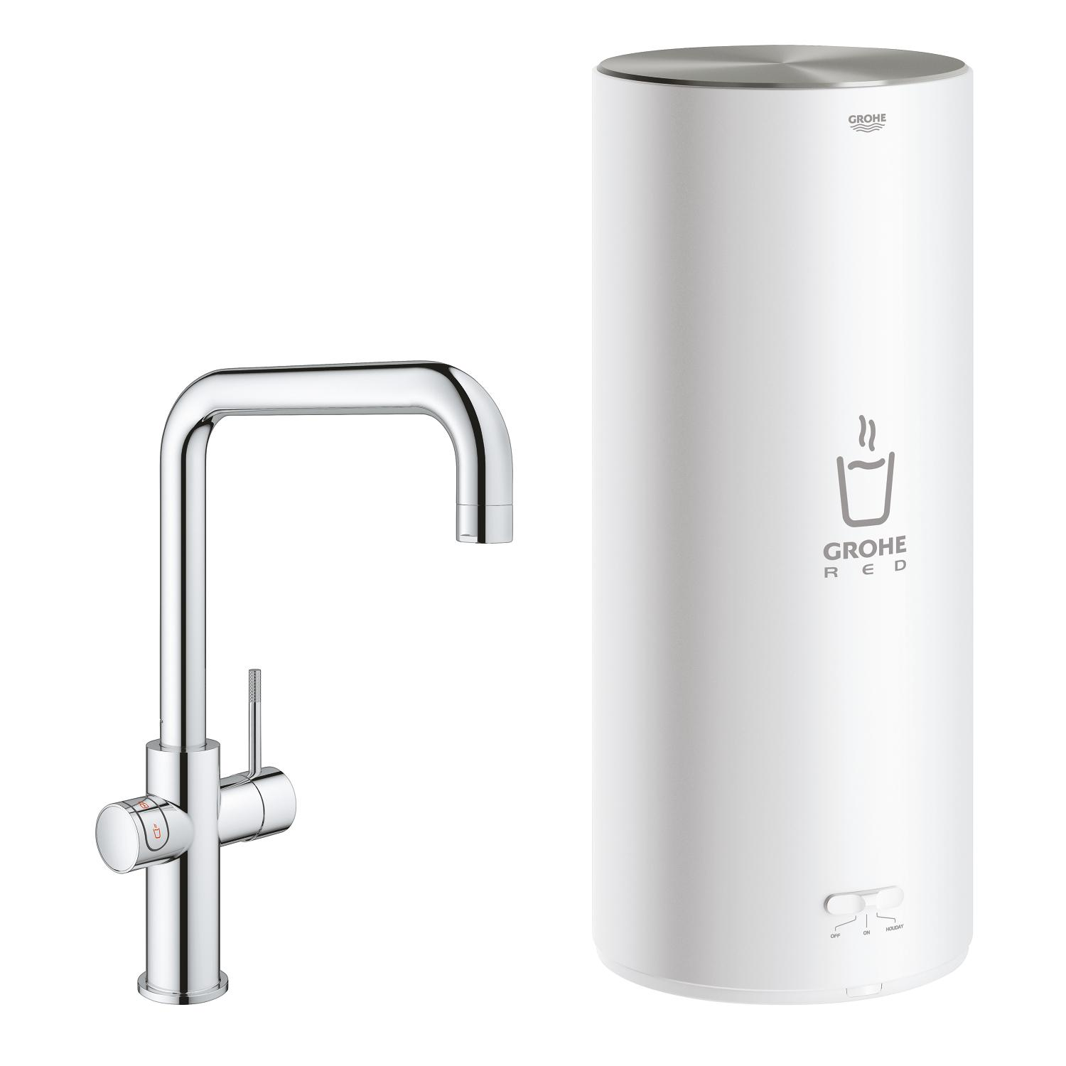 Red Duo keukenmengkraan chroom m.U-uitloop+combiboiler Grohe