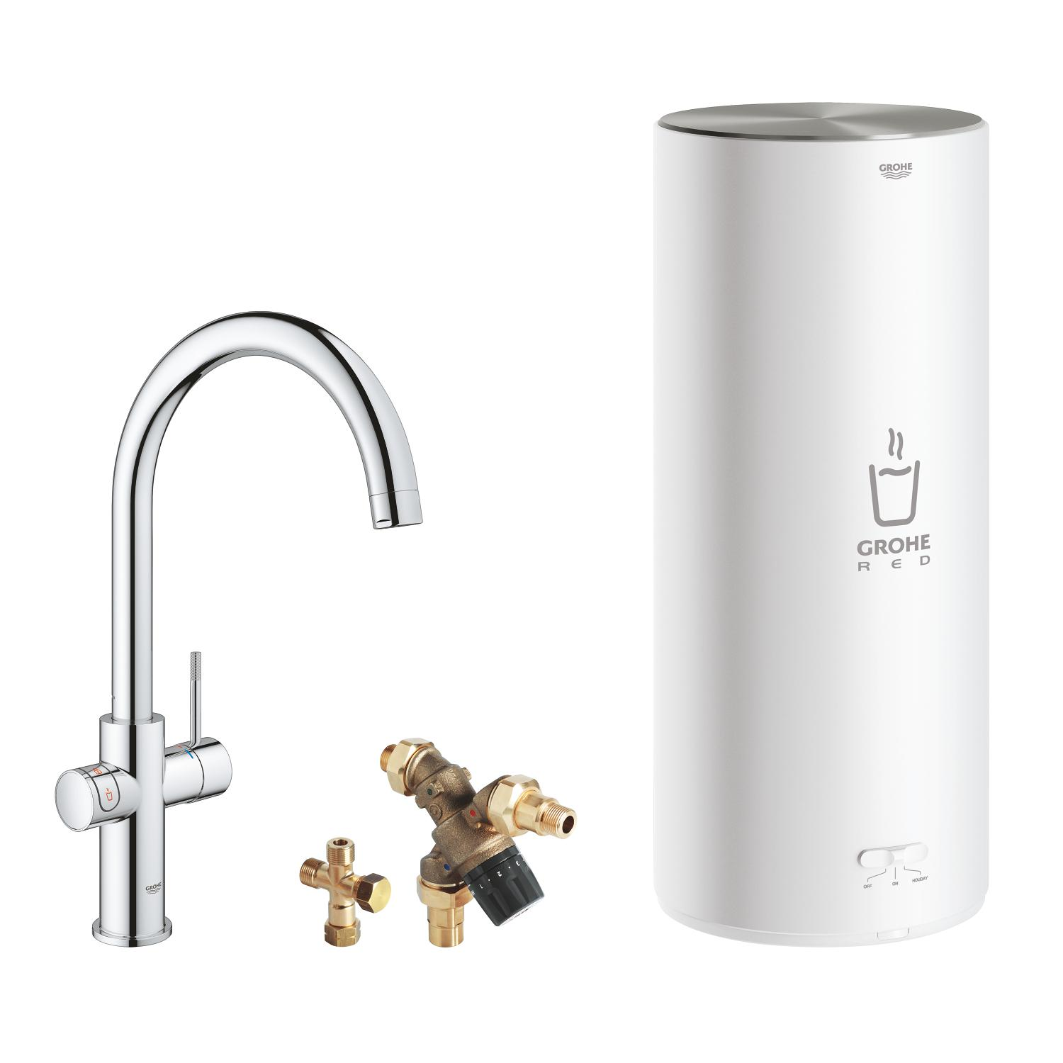 Red Duo keukenmengkraan chroom m.C-uitloop+combiboiler Grohe