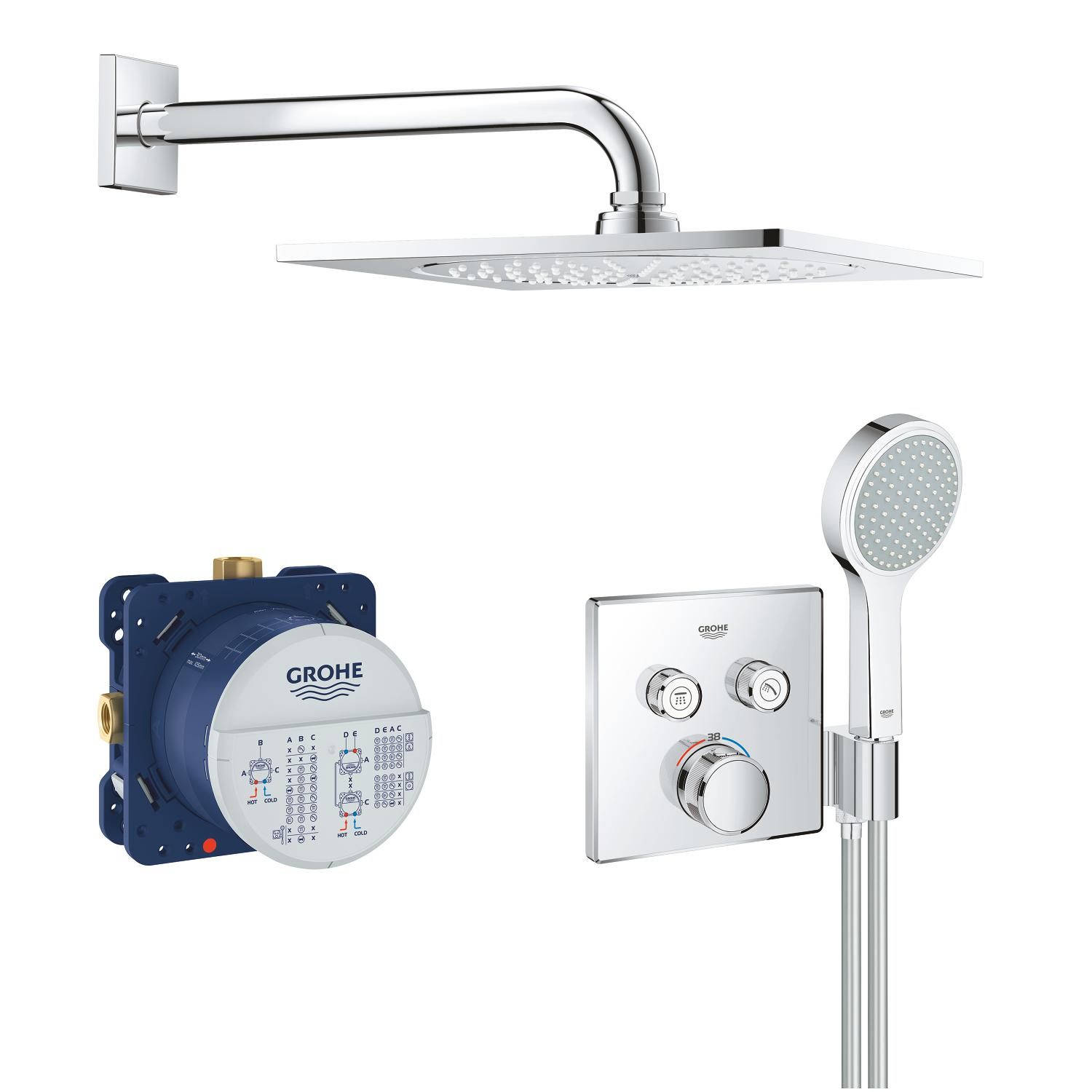 Grohtherm Smartcontrol Comfortset inb. F-Serie 254mm chroom Grohe