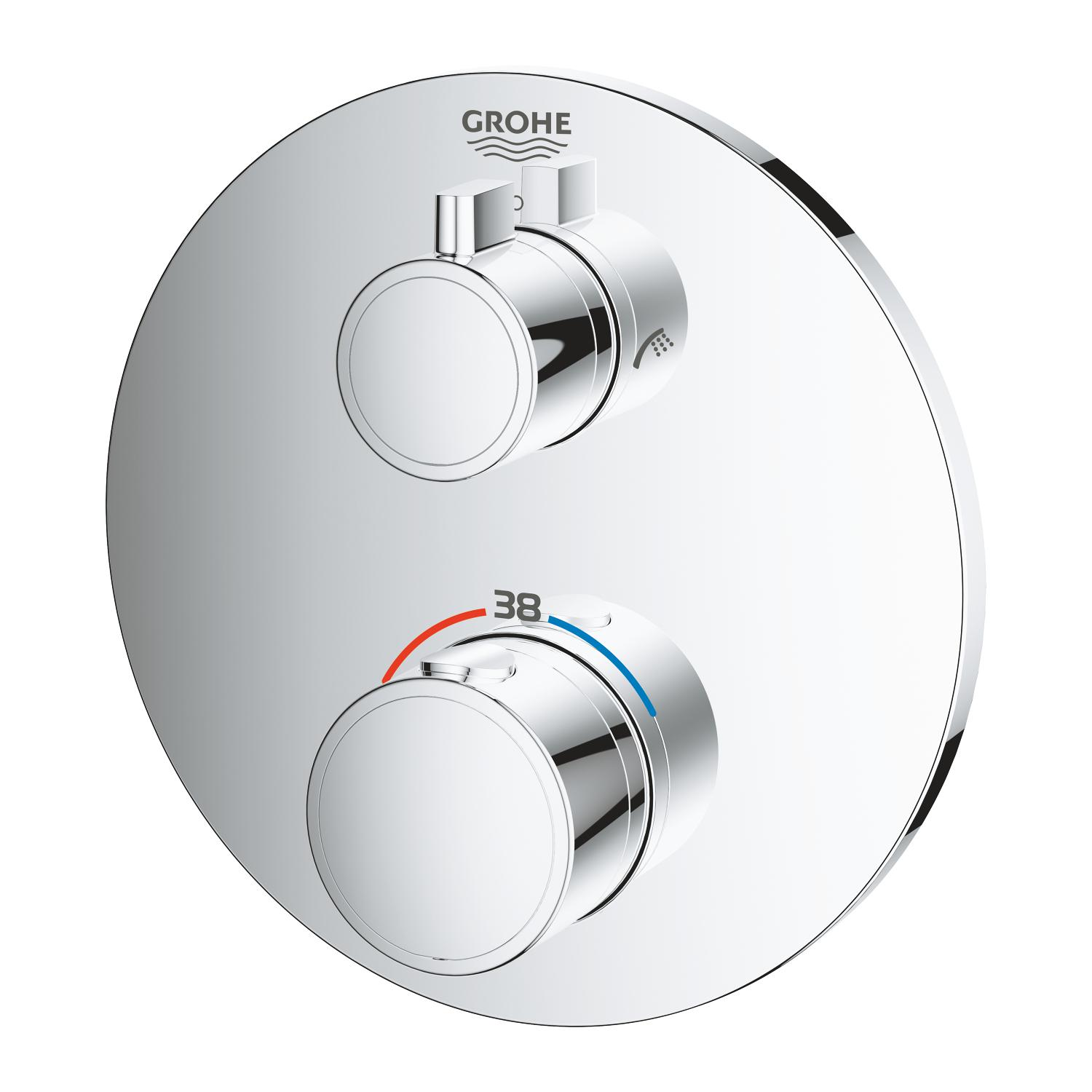 Grohth. opb.deel chr. rond m.omstel douche+baduitl.z.inb.set Grohe