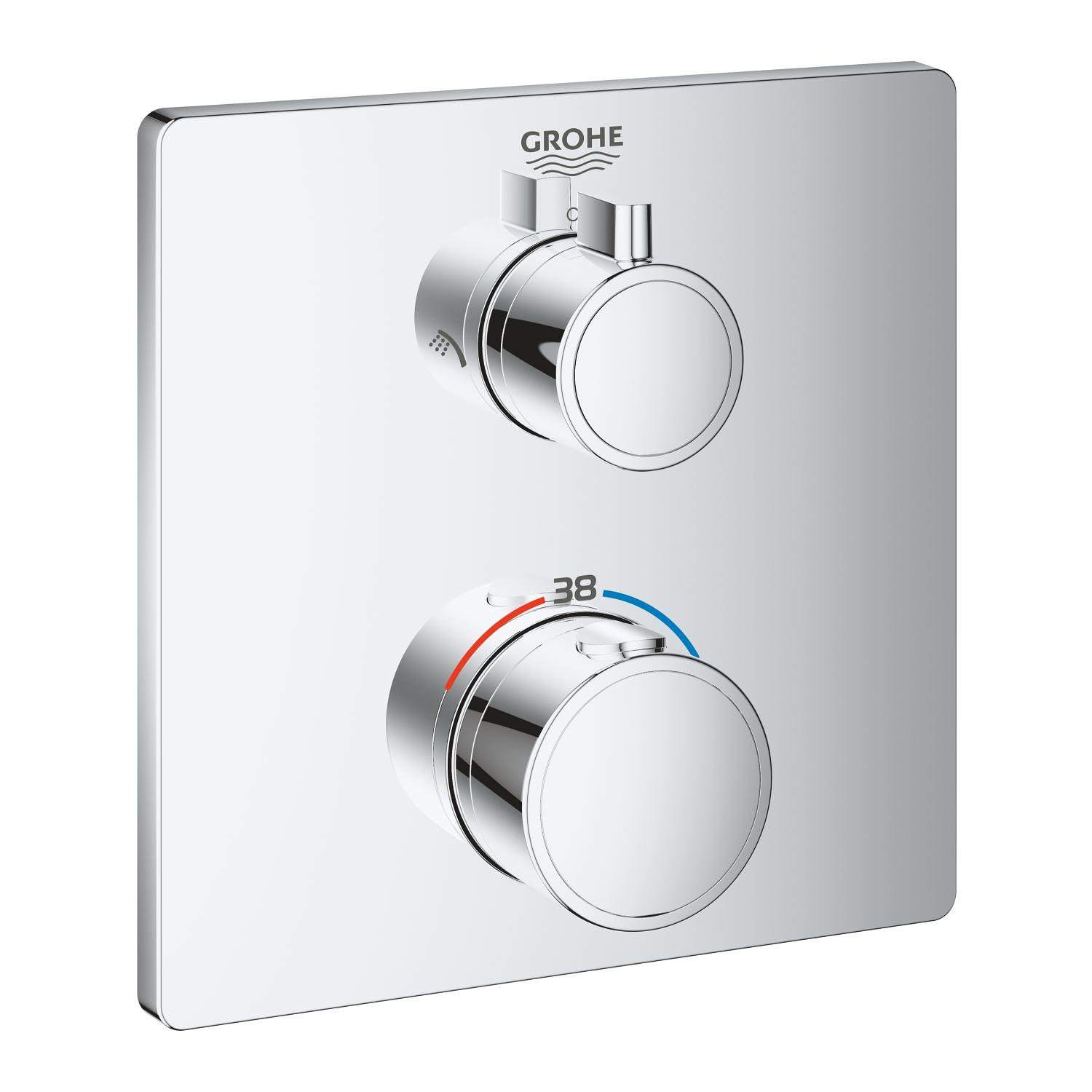 Grohtherm opbouwdeel chroom vierkant m.omstel hoofddouche Grohe