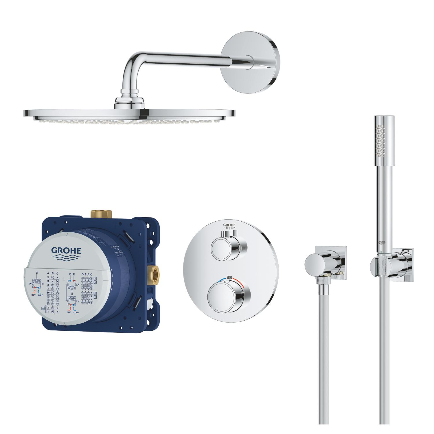 Grohtherm inb. comfortset rond chroom hoofddouche 310mm Grohe